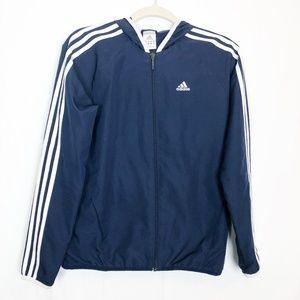 Adidas Navy Size Small Windbreaker Jacket w Hood